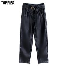 Black Pu Leather Pants Fashion High Waist Trousers Ladies Straight Pants with Belt pantalon femme