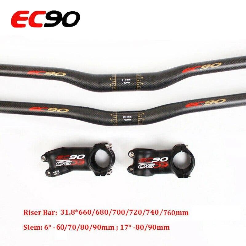 EC90 Carbon MTB Flat Riser Bar 660-760*31.8 Bike Threadless Handlebar Stem 6//17°