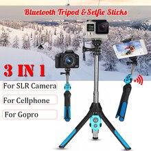 3 ใน 1 พับบลูทูธ Selfie Stick ไร้สายขาตั้งกล้องรีโมทคอนโทรล Monopod สำหรับ iPhone XR X 8 สำหรับ goPro