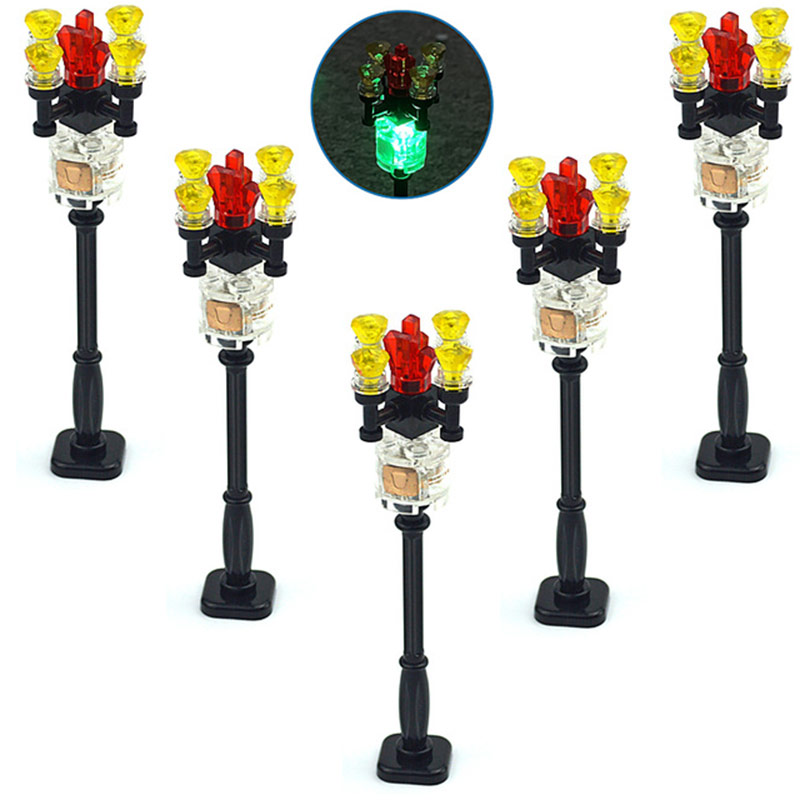 City House Accessories LED Light Model Light-Emitting Building Blocks Educational Traffic Signal Light Compatible With Leduo