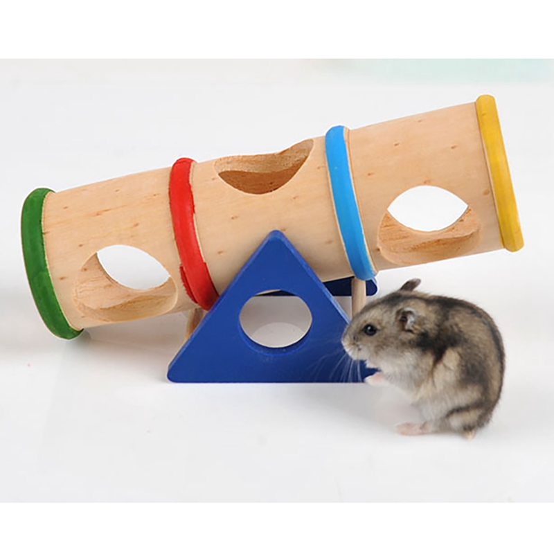 Hamster Wood Toys Upturned Bucket Hamster Seesaw Tunnel Tube Small Pet Wooden Toy  Chew Toy For Rabbit Ferret