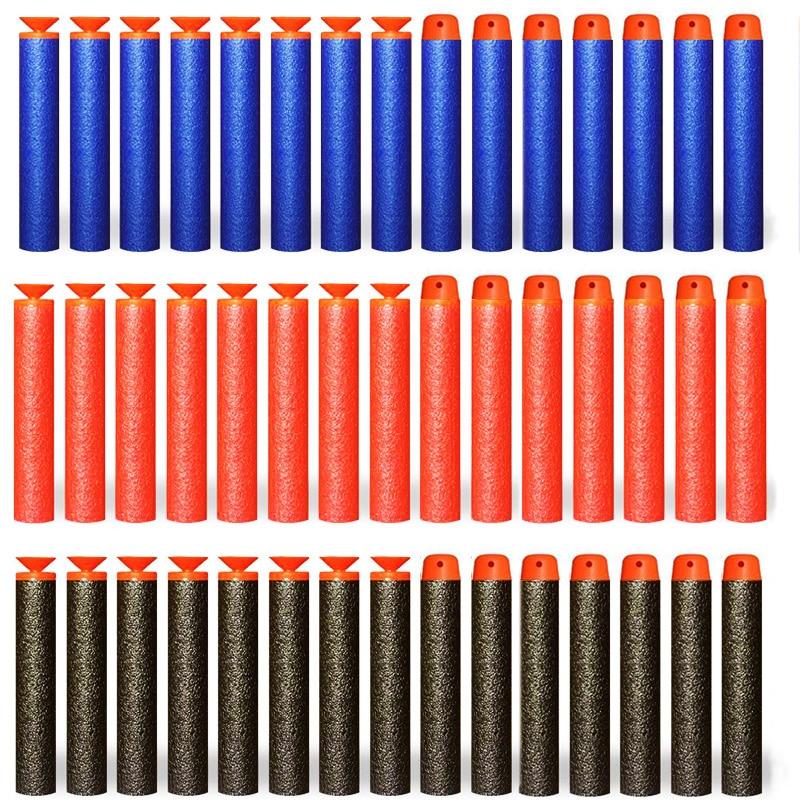 100 Uds. Cabeza redonda hueca suave y relleno de dardos balas de pistolas de juguete para la serie Nerf EVA juguetes de regalo militar para chico y niños 50/100 Uds. Pistola de aire suave ligera, balas, dardos de bala Eva para NERF n-strike Series, disparadores, Chico, pistola de juguete