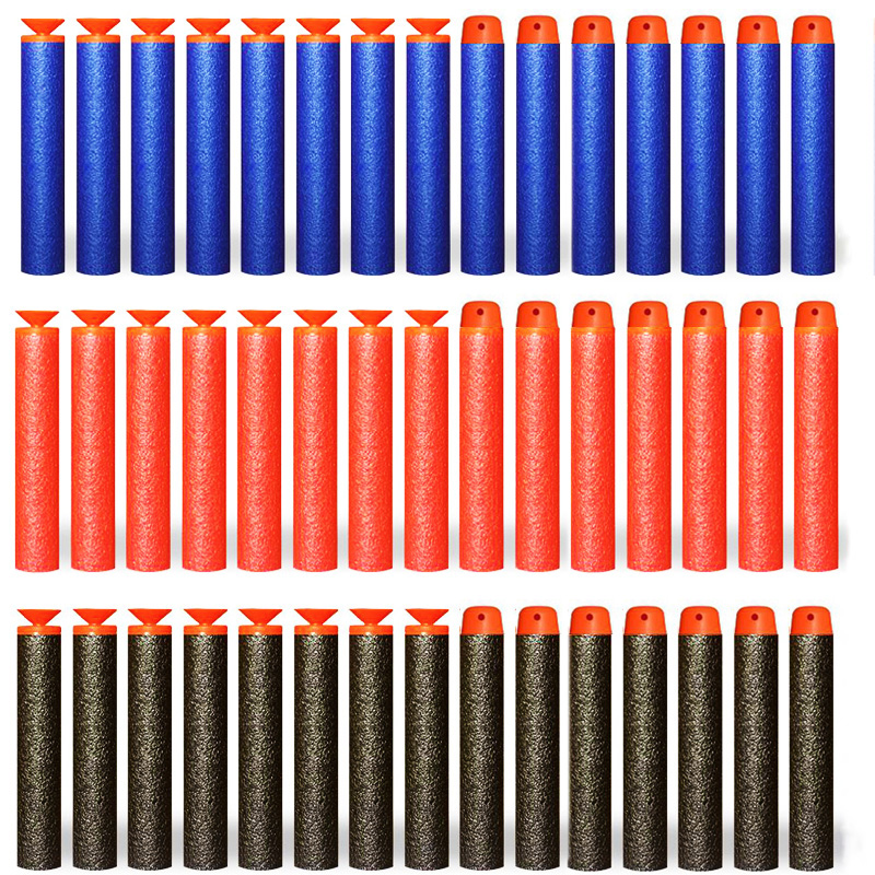 100pcs Soft Hollow Round Head And Sucker Refill Darts Toy Gun Bullets For Nerf Series EVA Military Gift Toys For Kid Children