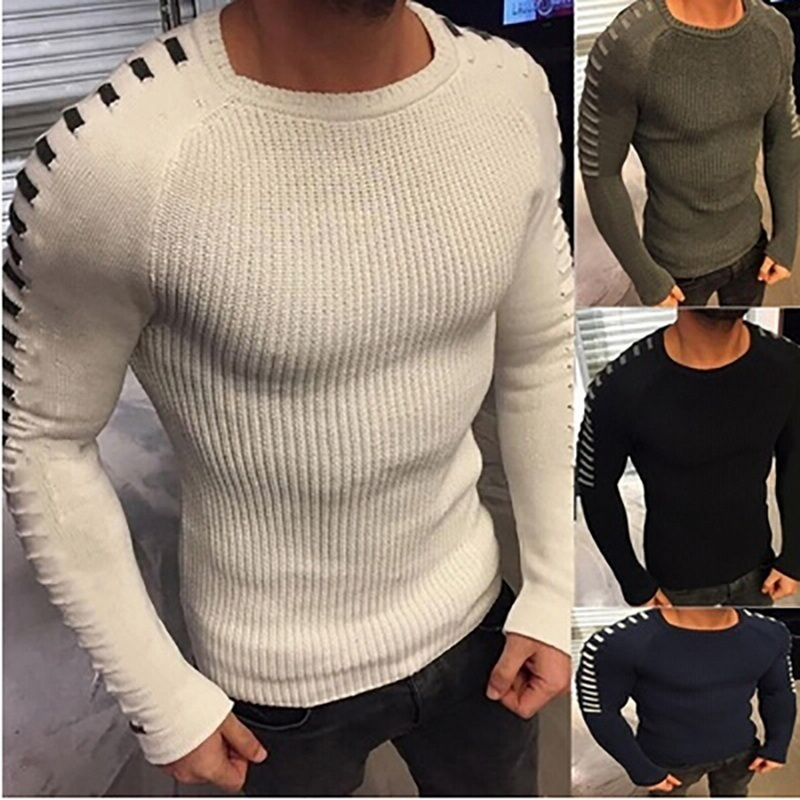 Autumn Winter Men's Knitwear 2019 Casual Pullover Men Long Sleeve O-Neck Knitted Pleated Men Sweaters Mohair Tops