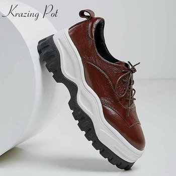 Krazing Pot genuine leather lace up British thick bottom fashion brown color sneakers round toe European vulcanized shoes L36