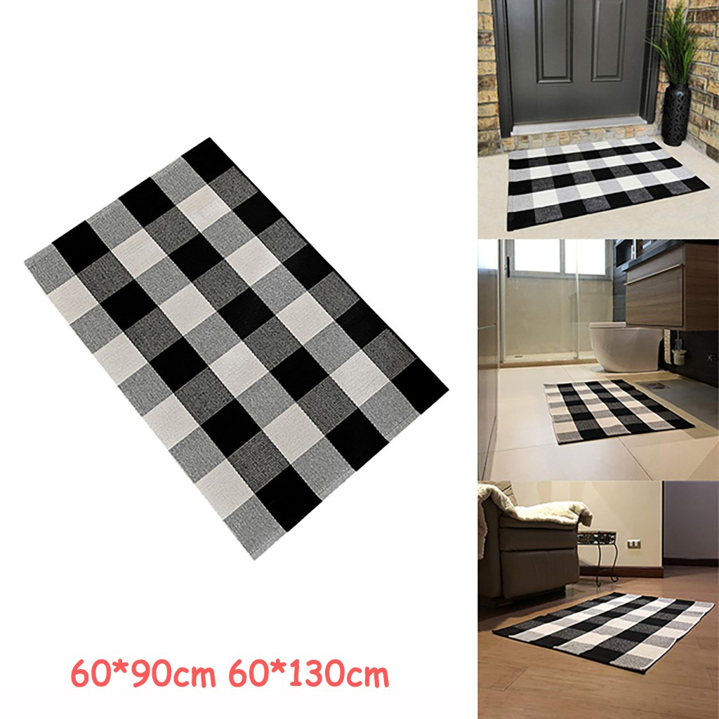 Us 5 69 42 Off Kitchen Bathroom Cotton Plaid Rugs Black And White Checkered Rug Door Mat Rug Modern Bath Mat Fashion Outdoor Tapete Rug Carpet On