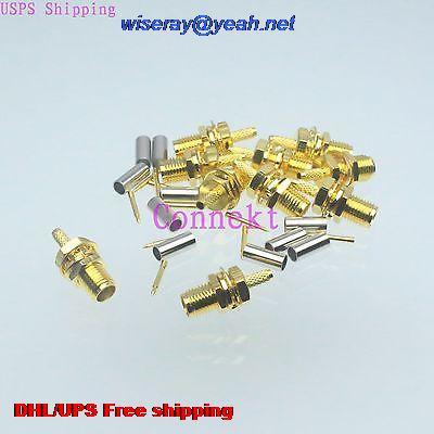 DHL/EMS 500pcs Connector RPSMA Female Bulkhead Crimp RG174 RG316 LMR100 Cable Straight-A3