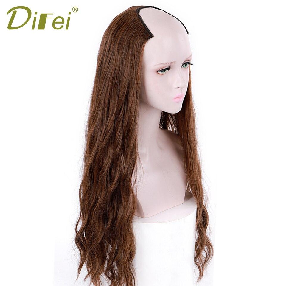 metade peruca clipe em uma peça ondulado