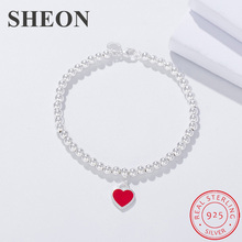 SHEON 16-19CM Classic Brand Blue Red And Pink Enamel Heart Charm Bead Bracelet 925 Sterling Silver Woman Bracelets Jewelry Gift цена