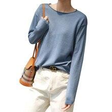 Camisola de lã de tamanho grande solto de manga comprida feminino pulôver cor sólida selvagem o-pescoço camisola primavera outono de malha camisa de fundo