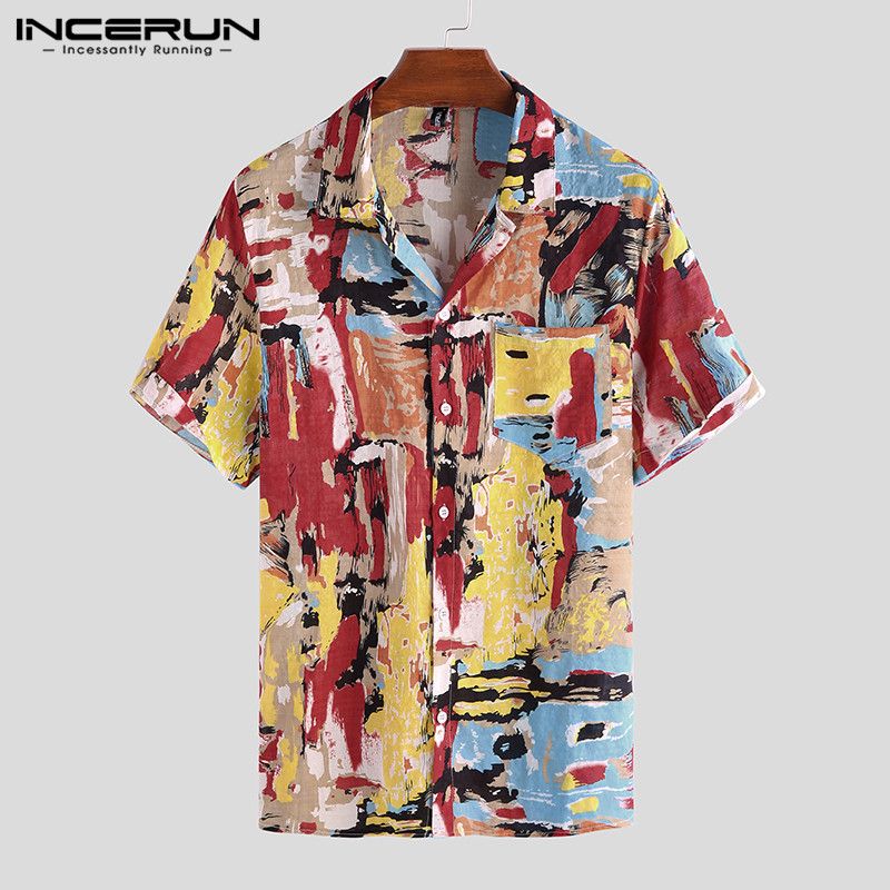 INCERUN Summer Fashion Short Sleeve Shirt Men 2020 Casual Lapel Colorful Printed Vacation Hawaiian Shirts Men Breathable Blouse