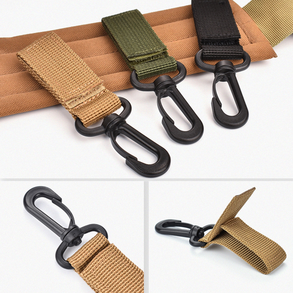 Outdoor 360 Degree Rotation Ribbon Buckle Carabiner Backpack Strap Clip Kit Travel Bag Quickdraw Belt Hang Camping Attach Buckle
