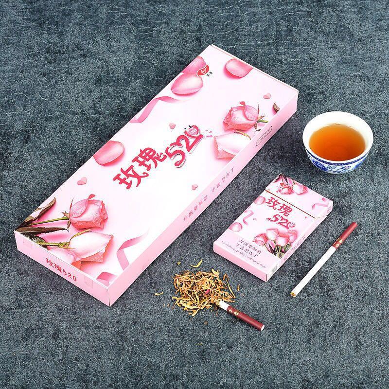 Chinese Rose Tea Cigarettes Slim Thin Smoke Quit Smoking Clear Lungs Smokeless and Nicotine