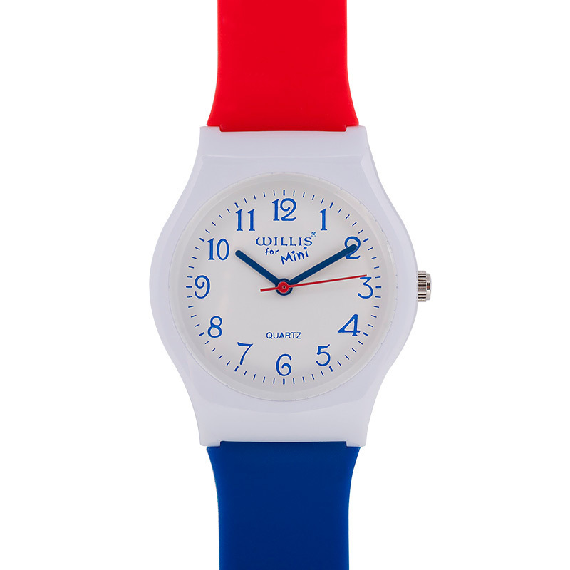 Kids Watches Japanese Quartz Movement Blue Red Contrast Color Watchband High Quality ABS Boys Girls Student Children Watch