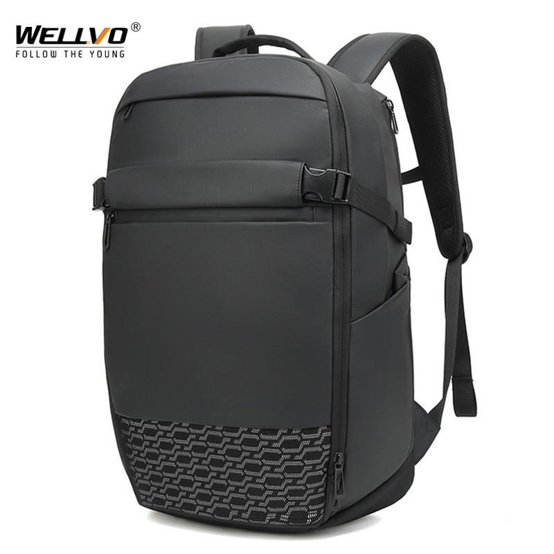 Men Nylon Expandable Backpack Office Anti Theft Laptop Office Bagpack Male Knapsack Shoulder Waterproof Travel  Mochila XA281ZC