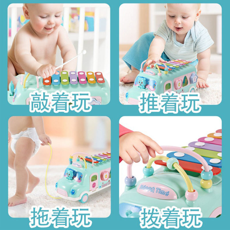 Little Girl Knock Piano Bus Multi-functional Building Blocks Bead-stringing Toy Children'S Educational Bracing Wire School Bus E