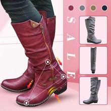 Женские ковбойские сапоги до колена; ботинки в стиле панк; зимняя теплая обувь; ботинки на низком толстом каблуке с боковой молнией; Прямая поставка