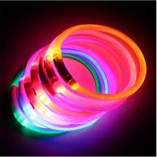 Collier pour animal de compagnie, Rechargeable via USB, collier pour chiens, Rechargeable LED, clignotant de nuit, en plastique, à cou solide pour chiens