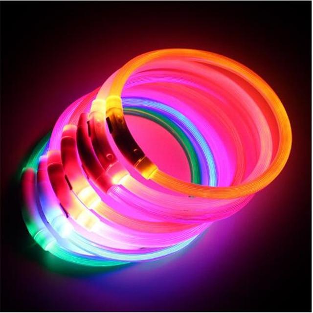 USB טעינת מתכוונן לחיות מחמד כלב צווארון LED נטענת הלילה מהבהב זוהר כלב קולרים פלסטיק מוצק צוואר צווארון לכלבים
