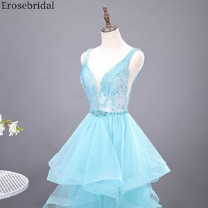 Image 4 - Erosebridal スカイブルーのロングドレス 2020 新ファッションティアードロングフォーマルドレスイブニングパーティーオープンバック v ネック