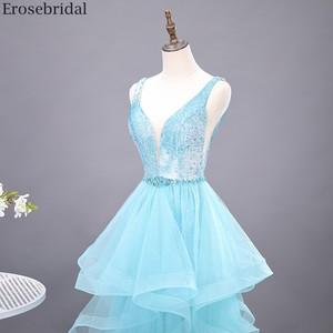 Image 4 - Erosebridal שמיים כחולים שמלה לנשף 2020 חדש אופנה שכבות שמלת ארוך פורמליות שמלת ערב שמלת מסיבת פתוח חזור V צוואר