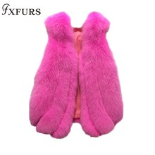 FXFURS 2019 New Women Fox Fur Vest Short Style Real Waistcoats  Ladies Sleeveles Fashion Gilets Paragraph Outerwear Winter