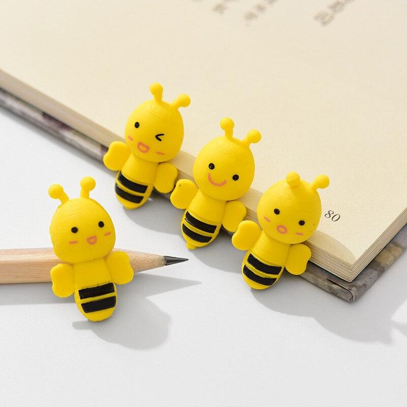4pcs/set Novelty Mini Cute Bee Shape Rubber Eraser Children Gift Stationery Supplies, For School Office Kids Girls