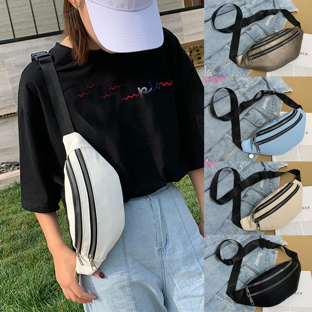 Unisex Waist Bag Explosion Zipper Chest Bag PU Leather Solid Color Hip Banana Pack Heuptas Fashion Casual Sports Belt Bag #M