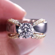 Huitan Winding Creative Modern Wedding Ring Band For Women Fashion Two Tone Design Engagement Rings Trendy Accessories