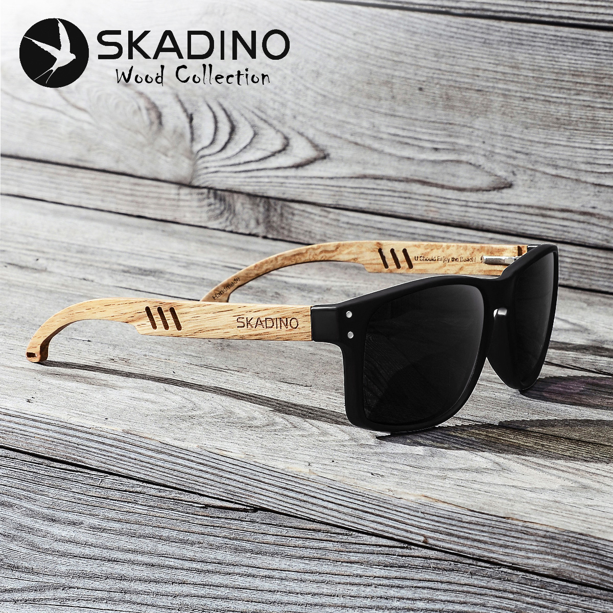 SKADINO Beech Wood Men Sunglasses Polarized Wooden Sun Glasses for Women Blue Green Lens Handmade Fashion Brand Cool UV400Mens Sunglasses   -