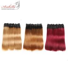 Super podwójne wyciągnąć proste włosy niepoddawane zabiegom wyplata wiązki 2/3/4 sztuk włosy typu Ombre wyplata 100% wiązki ludzkich włosów 1b/99j do przedłużania włosów