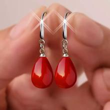 New red pearl pendant earrings imitation long transparent crystal opal earrings, is a romantic gift for women
