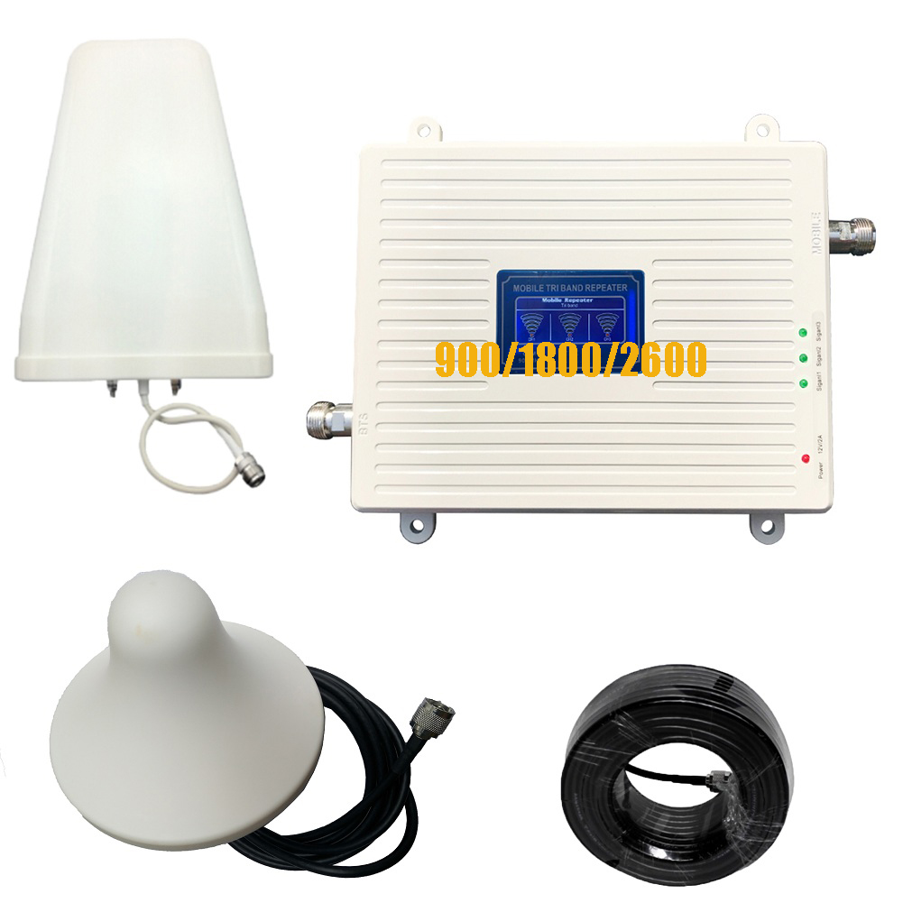 2G 3G 4G 900 1800 2600 Triple Band Signal Booster GSM DCS LTE Mobile Phone Repeater Cell Phone Cellular Amplifier High Gain