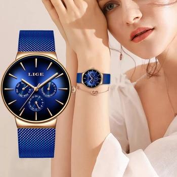 LIGE, новые модные женские часы, женские, Лидирующий бренд, роскошные, креативный циферблат, спортивные кварцевые часы для женщин, синие водон...