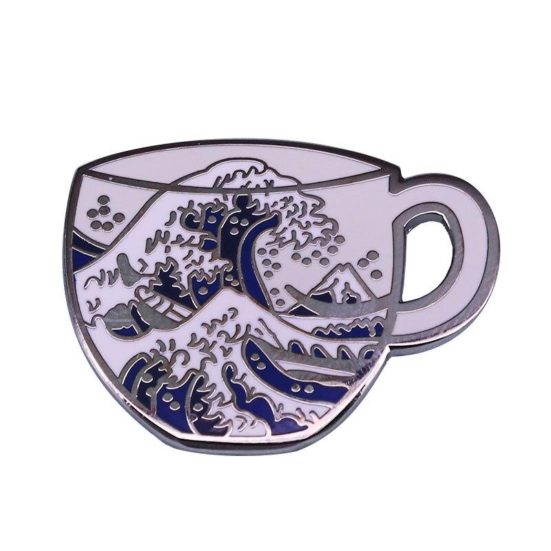 Чай Hokusai: великолепные удивительные аксессуары для любителей японского искусства, эмалированные штифты с большой волной у канагавы