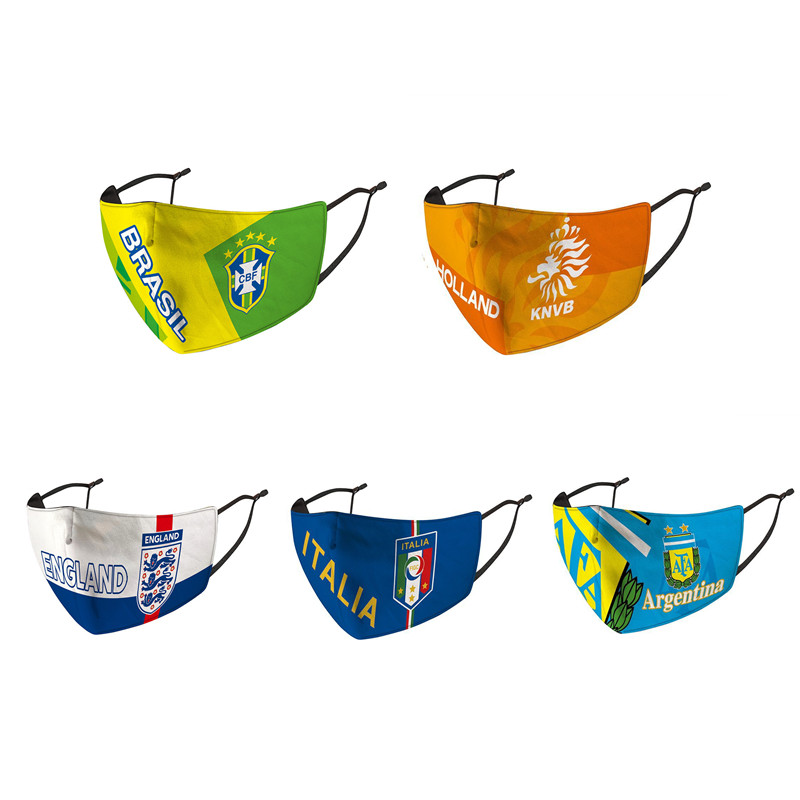 World Cup Football Teams Countries Mask Dust Mouth Cover Washable Reusable Mouth Mask Soccer Print Face Mask
