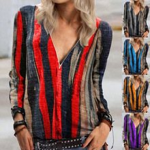 Printed Long-sleeved V-neck 2020 European and American Tie-dyed Striped Zipper Top Women Shirt Long Sleeve Loose Full V Neck