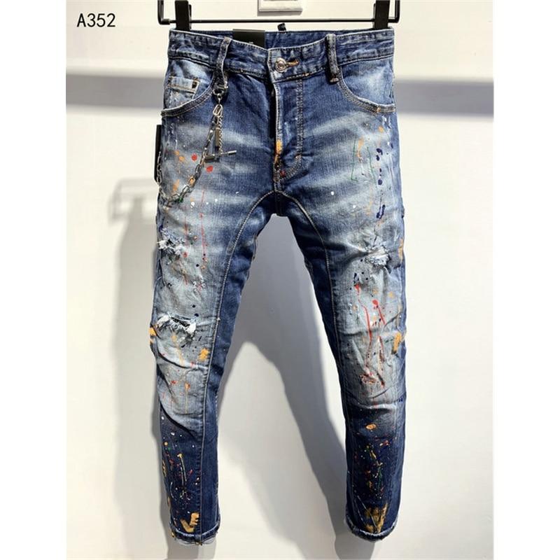 Skinny 2020  Chains Men Paint Distressed Holes Jeans Male Casual Cotton Slim Long Pants Man Denim Jeans Motorcycle Biker Jeans