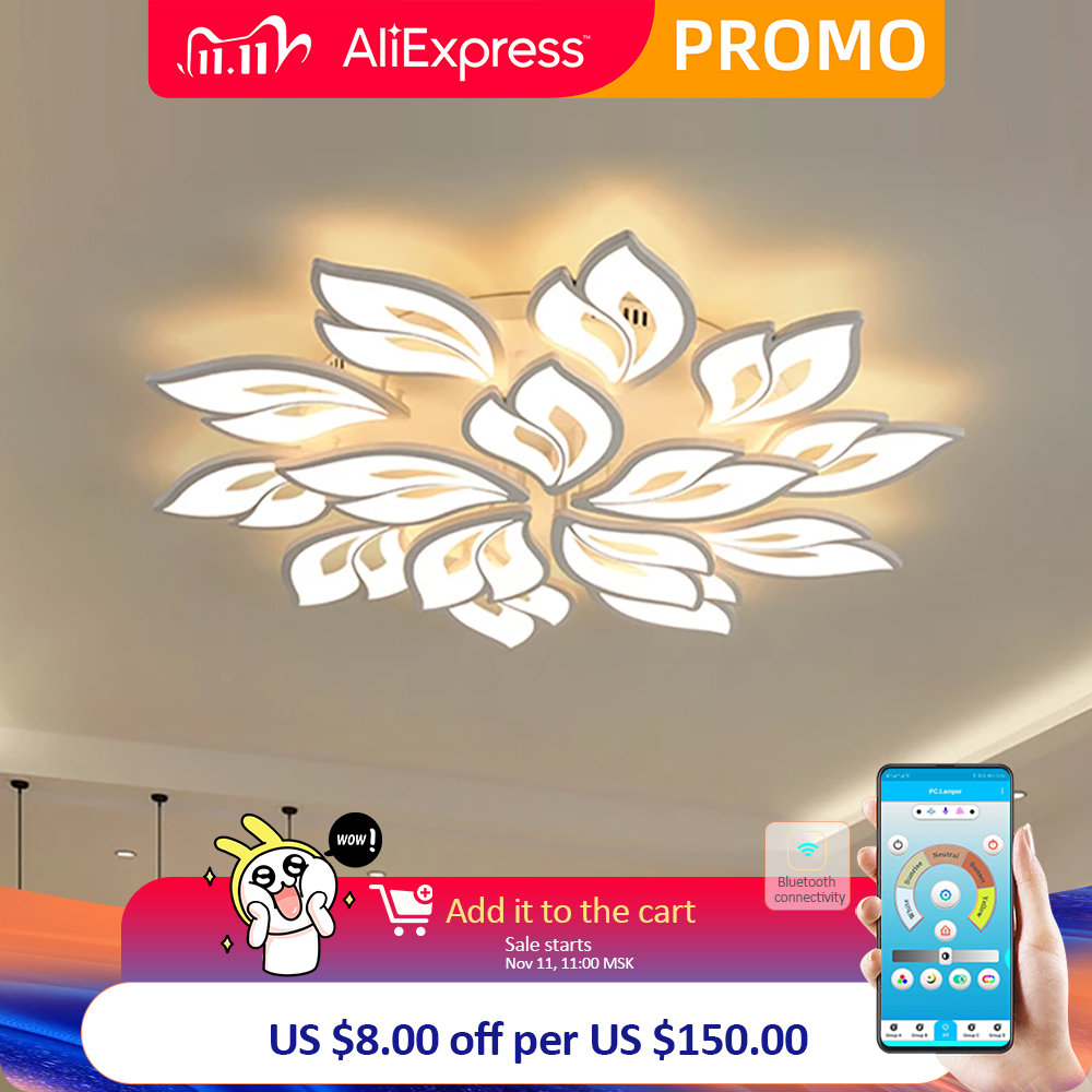 Modern LED chandelier with APP remote control function, living room, bedroom, home, chandelier, ceiling acrylic light, free ship|Chandeliers| - AliExpress