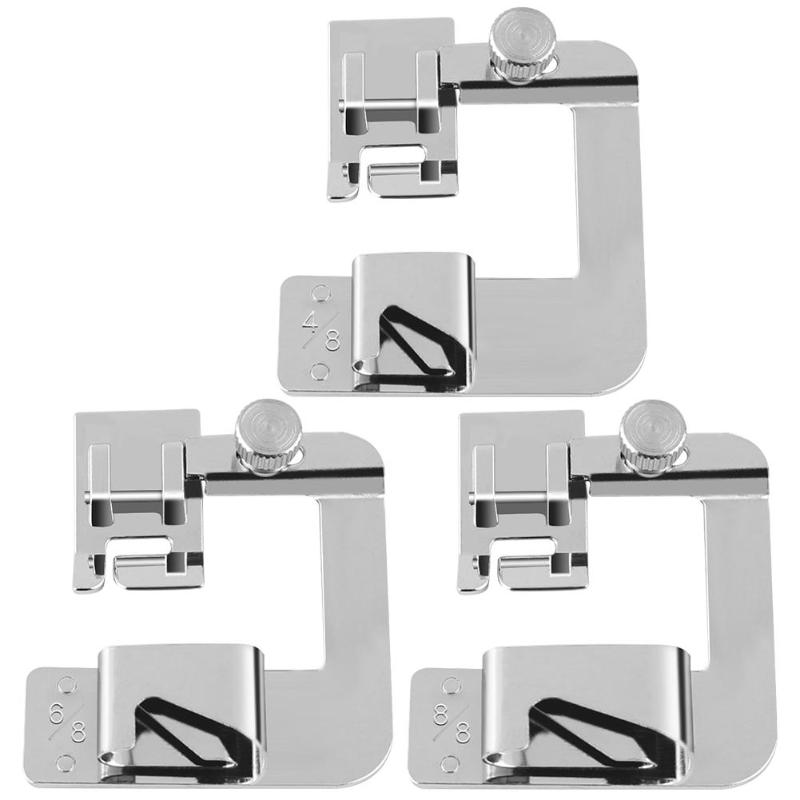 13-25 Mm Domestic Sewing Machine Foot Presser Rolled Hem Feet Set For Brother Singer Sewing Accessories 13mm 19mm 25mm