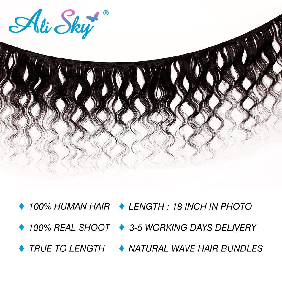Image 2 - Ali Sky Hair 3 Bundles Peruvian Natural Wave Mixed Length 8 30inch black color No Shedding No Tangle Remy freeshippping-in 3/4 Bundles from Hair Extensions & Wigs