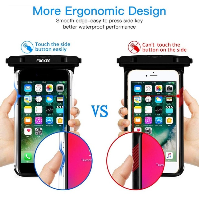 FONKEN Waterproof Phone Case For Iphone Samsung Xiaomi Swimming Dry Bag Underwater Case Water Proof Bag Mobile Phone Pouch Cover 2