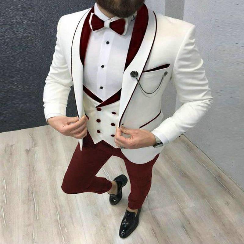 2020 Mens Suit Fashion Formal Business Slim Fit 3-Pieces White Blazers Burgundy Pant Mens Tuxedo Wedding Men Suits Groom Suit