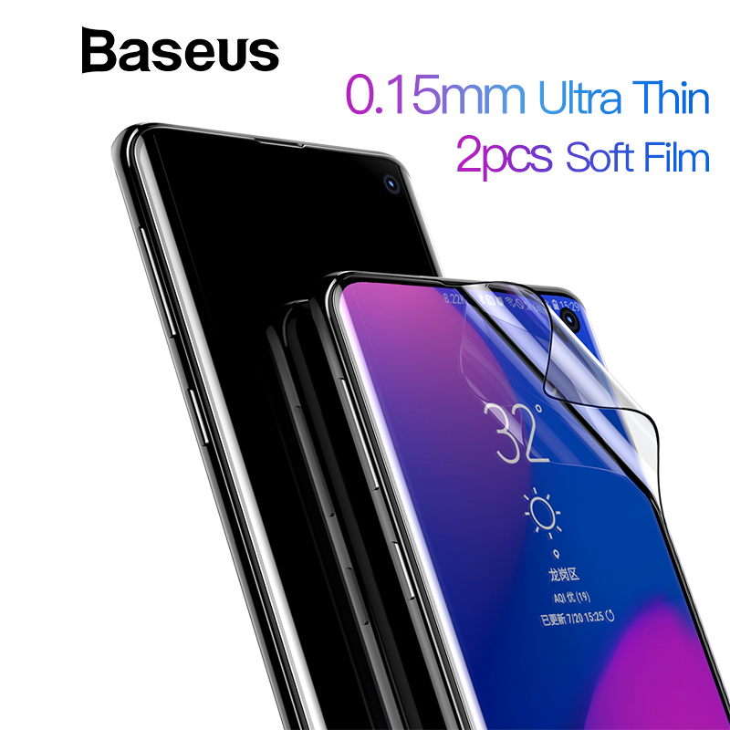Baseus 2pcs 0.15mm Protective Film For Samsung S10 S10+ Screen Protector Thin Full Coverage Soft Film For Samsung Galaxy Note 10