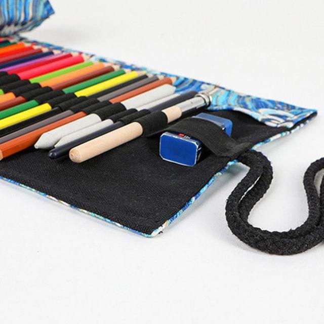 12/24/36/48/72 Holes Canvas Roll Up Pencil Bag Pen Curtain Case Makeup Wrap Holder Storage Pouch 3