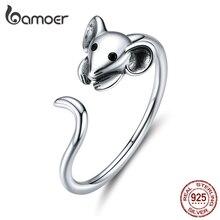 Bamoer, настоящее, 925 пробы, серебряное, мышь, животное, регулируемое кольцо на палец для женщин,, Зодиак, модное ювелирное изделие, Bijoux SCR632