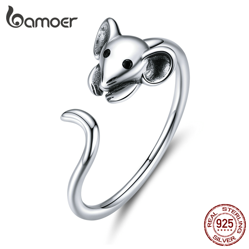 Bamoer Authentic 925 Sterling Silver Mouse Animal Adjustable Finger Ring For Women 2020 Zodiac Fashion Jewelry Bijoux SCR632