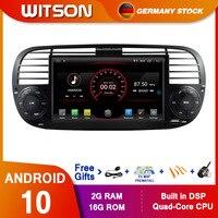 De estoque! Witson-sistema multimídia para autos, android 10, processador quad core, dvd, navegação gps e rádio para fiat 500