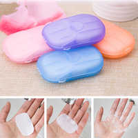 20pcs/box Portable Outdoor Travel Soap Paper Scented Slice Washing Hand Bath Clean Sheets Disposable Boxes Soap Mini Paper Soap