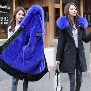 Image 3 - Veste dhiver longue à capuche pour femme, vêtement dhiver épais, doublure en fourrure, peut être 30 degrés